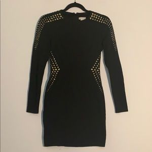 Cache Black & Gold Studded Dress